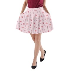 Cute Pink Birds And Flowers Pattern A Line Pocket Skirt