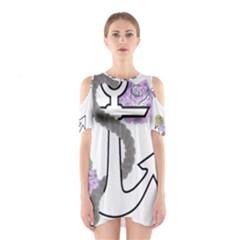 2 Combo Flowersa  Cutout Shoulder Dress