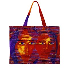Conundrum Iii, Abstract Purple & Orange Goddess Zipper Large Tote Bag