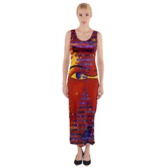 Conundrum Iii, Abstract Purple & Orange Goddess Fitted Maxi Dress