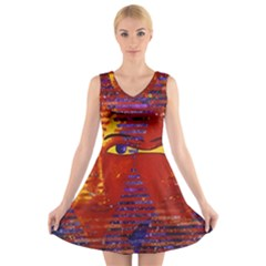 Conundrum Iii, Abstract Purple & Orange Goddess V Neck Sleeveless Skater Dress