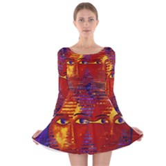 Conundrum Iii, Abstract Purple & Orange Goddess Long Sleeve Velvet Skater Dress