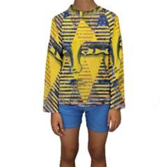 Conundrum II, Abstract Golden & Sapphire Goddess Kid s Long Sleeve Swimwear