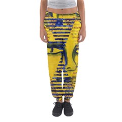 Conundrum Ii, Abstract Golden & Sapphire Goddess Women s Jogger Sweatpants