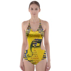 Conundrum II, Abstract Golden & Sapphire Goddess Cut-Out One Piece Swimsuit