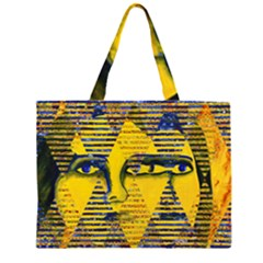 Conundrum II, Abstract Golden & Sapphire Goddess Zipper Large Tote Bag
