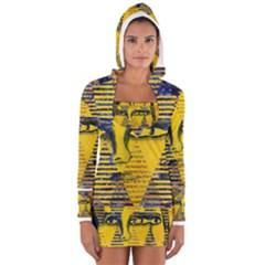 Conundrum II, Abstract Golden & Sapphire Goddess Women s Long Sleeve Hooded T-shirt