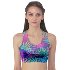 Colored Palm Leaves Background Sports Bra