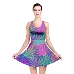 Colored Palm Leaves Background Reversible Skater Dress