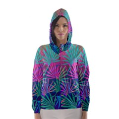 Colored Palm Leaves Background Hooded Wind Breaker (women)
