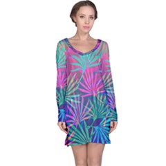 Colored Palm Leaves Background Long Sleeve Nightdress
