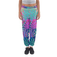 Colored Palm Leaves Background Women s Jogger Sweatpants