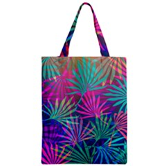 Colored Palm Leaves Background Zipper Classic Tote Bag