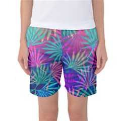 Colored Palm Leaves Background Women s Basketball Shorts