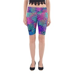 Colored Palm Leaves Background Yoga Cropped Leggings