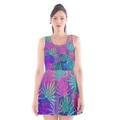 Colored Palm Leaves Background Scoop Neck Skater Dress