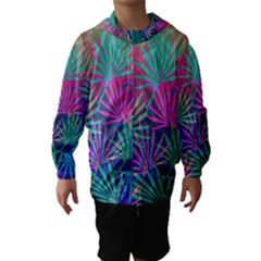 Colored Palm Leaves Background Hooded Wind Breaker (kids)