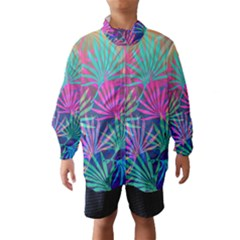 Colored Palm Leaves Background Wind Breaker (Kids)
