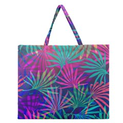 Colored Palm Leaves Background Zipper Large Tote Bag