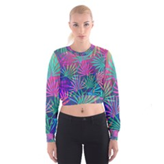 Colored Palm Leaves Background Women s Cropped Sweatshirt