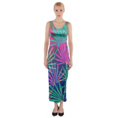 Colored Palm Leaves Background Fitted Maxi Dress