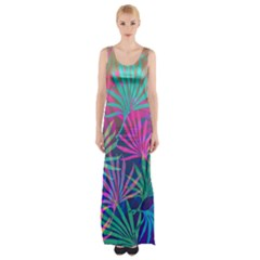 Colored Palm Leaves Background Maxi Thigh Split Dress