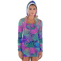 Colored Palm Leaves Background Women s Long Sleeve Hooded T Shirt