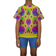 Floral Love And Why Not In Neon Kid s Short Sleeve Swimwear