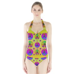 Floral Love And Why Not In Neon Women s Halter One Piece Swimsuit
