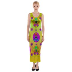 Floral Love And Why Not In Neon Fitted Maxi Dress