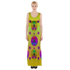 Floral Love And Why Not In Neon Maxi Thigh Split Dress