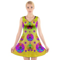 Floral Love And Why Not In Neon V-Neck Sleeveless Skater Dress