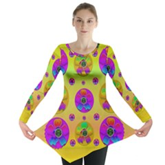 Floral Love And Why Not In Neon Long Sleeve Tunic