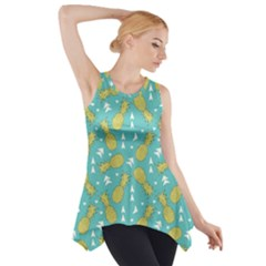 Summer Pineapples Fruit Pattern Side Drop Tank Tunic