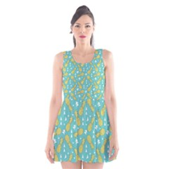 Summer Pineapples Fruit Pattern Scoop Neck Skater Dress