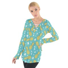 Summer Pineapples Fruit Pattern Women s Tie Up Tee