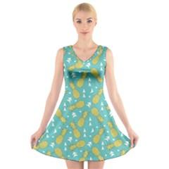 Summer Pineapples Fruit Pattern V-Neck Sleeveless Skater Dress