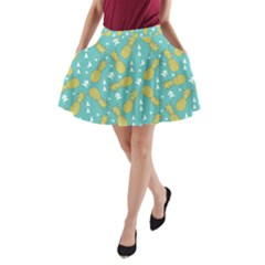 Summer Pineapples Fruit Pattern A Line Pocket Skirt