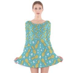 Summer Pineapples Fruit Pattern Long Sleeve Velvet Skater Dress