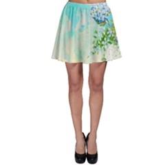 Watercolor Fresh Flowery Background Skater Skirt