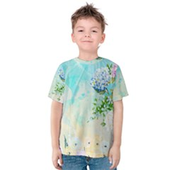 Watercolor Fresh Flowery Background Kid s Cotton Tee
