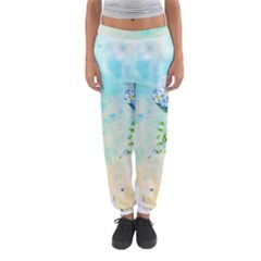 Watercolor Fresh Flowery Background Women s Jogger Sweatpants