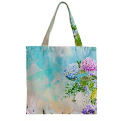 Watercolor Fresh Flowery Background Zipper Grocery Tote Bag