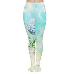 Watercolor Fresh Flowery Background Women s Tights