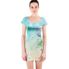 Watercolor Fresh Flowery Background Short Sleeve Bodycon Dress