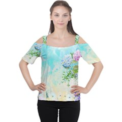 Watercolor Fresh Flowery Background Women s Cutout Shoulder Tee