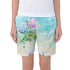 Watercolor Fresh Flowery Background Women s Basketball Shorts