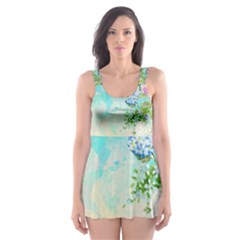 Watercolor Fresh Flowery Background Skater Dress Swimsuit