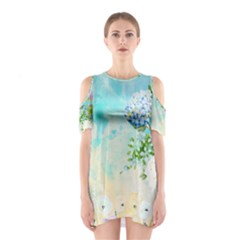 Watercolor Fresh Flowery Background Cutout Shoulder Dress
