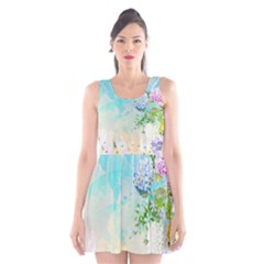 Watercolor Fresh Flowery Background Scoop Neck Skater Dress